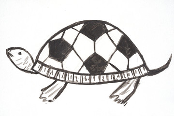 watercolor hand drawn cartoons sport soccer turtle, with football ball pattern on the shell, flat style silhouette black and white illustration