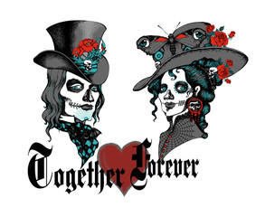 Classic Vintage Couple Pose in Day of the Dead, hallowen makeup, tatto-drsign, t-shirt drsign