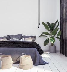 New Scandinavian bedroom, 3d render