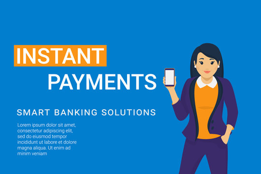 Instant payments mobile app for banking and online payments. Concept flat vector illustration of young business woman holds smartphone with blank screen for e-wallet finance app and sending money