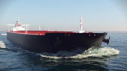 Oil tanker floating in the ocean