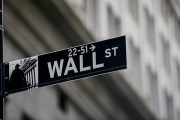 A Wall St. sign is seen in the financial district in New York