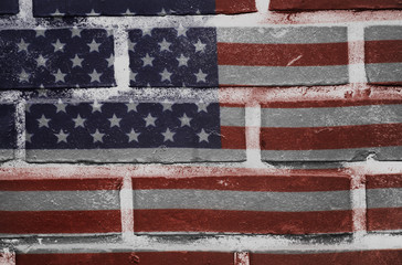 USA flag painted on old brick wall texture