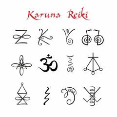 Karuna Reiki. Symbols. Healing energy. Alternative medicine. Vector.