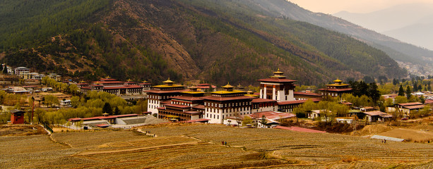 Nature of Thimhu, the capital and largest and the only city the Kingdom of Bhutan