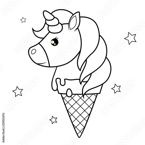 Cute Cartoon Unicorn Ice Cream Black And White Vector Illustration