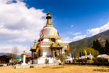 Buddha temple in Thimhu, the capital and largest and the only city the Kingdom of Bhutan