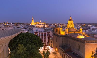Seville, Spain. City skyline at dusk