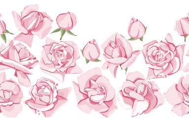 Pink roses and buds. Horizontal seamless pattern on white isolated background.