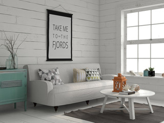 Interior in marine style 3d illistration