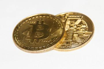 Bitcoin on white
