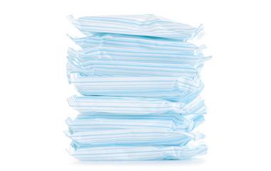 Female hygiene napkins menstruation on white background isolation