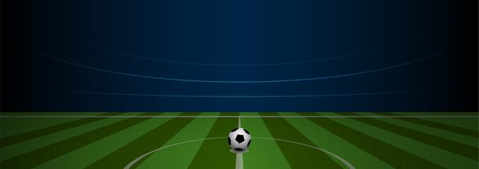 Empty football field arena stadium with realistic football on center, vector illustration