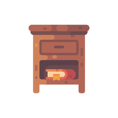 Wooden nightstand with a book flat illustration. Bedside table icon.