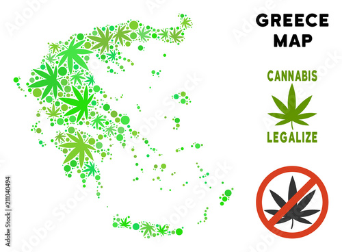 Royalty Free Marijuana Greece Map Composition Of Weed Leaves