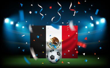 Football stadium with the ball and Mexico flag. Viva Mexico