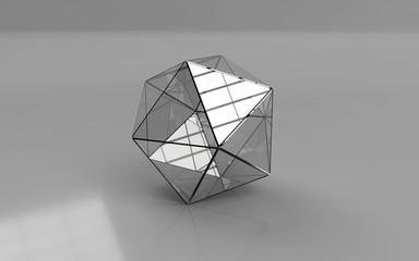 Icosahedron placed on the grey background.