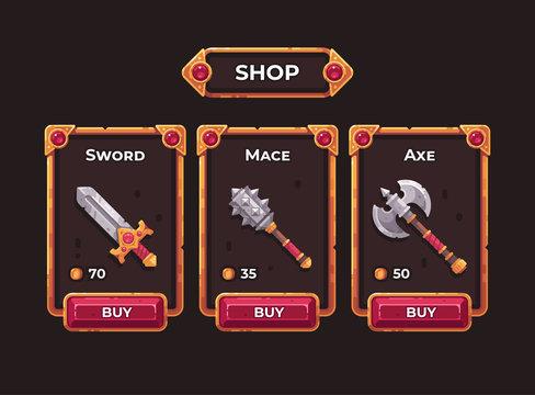 Fantasy game weapon shop concept. Game shop UI frame illustration.
