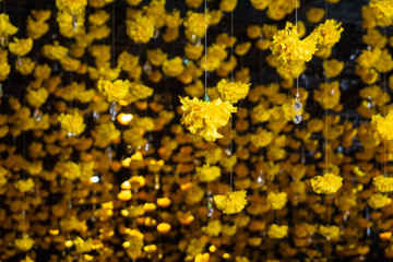 Yellow Flowers & Crystals Garland Decor Cascading from Ceiling