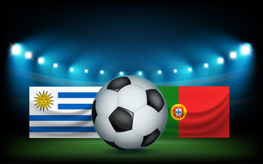 Football stadium with the ball and flags. Uruguay vs Portugal