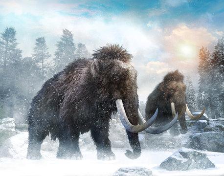 Mammoth scene 3D illustration