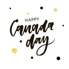 Canada Day Holiday Lettering Vector phrase Calligraphy