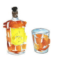 Bottle and glass of whiskey or cognac isolated on white background. Hand drawn watercolor and ink illustration.