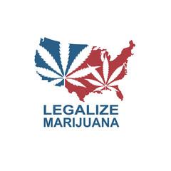 illustration of marijuana or cannabis leaf on usa map