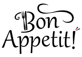 Bon Appetit! Logo with fork and knife and french colors
