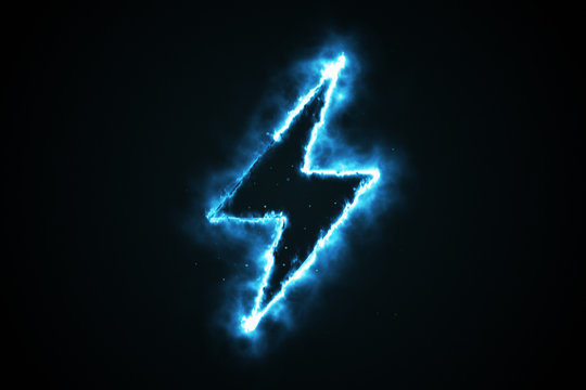 Burning blue flame lightning shape on black background, 3d illustration
