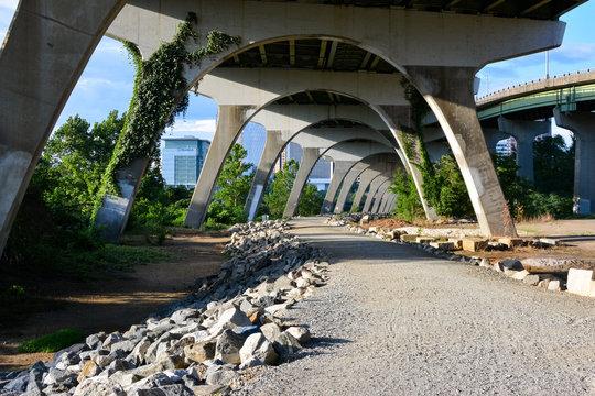 Manchester river bike trail in Richmond, Virginia