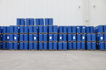 Blue Barrels at Pallets