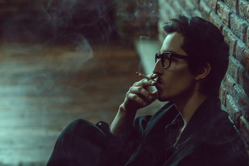 smoking alone guy