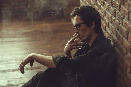 thoughtful smoking man