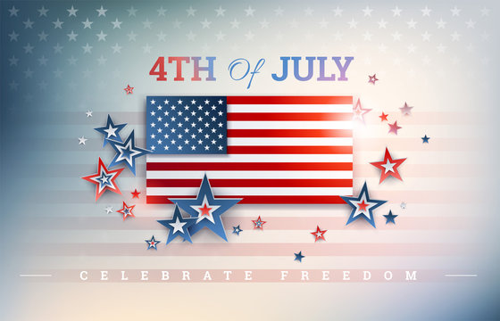 4th of July USA Independence Day background with USA flag, Celebrate Freedom text, stars on shiny abstract background. Impressive American design! Vector