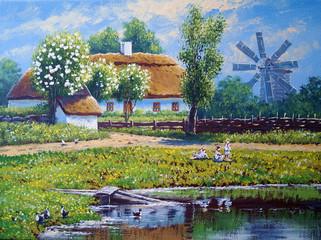 Oil paintings rural landscape.Fine art.