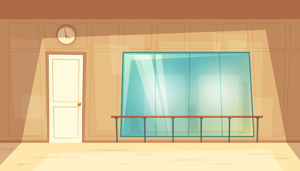 Vector cartoon illustration of empty dance-hall with mirrors and wooden floor. Rehearsal room for ballet lessons with wall handrails. Gym, class for fitness trainings or yoga, blank interior inside