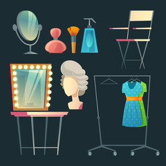 Vector cartoon actress, actor s dressing room. Collection with furniture, clothing and hanger with costumes. Table with light bulbs and mirror. Makeup, spray and brush for theatrical performance.