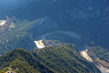 Amazing Landscape of Nestos River Gorge near town of Xanthi, East Macedonia and Thrace, Greece