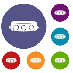 Rock collar icons set in flat circle red, blue and green color for web