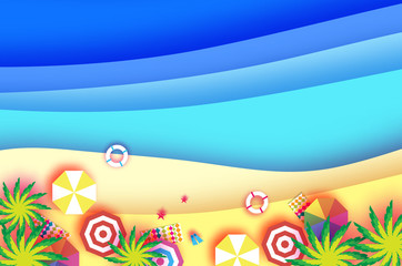 Top view Parasols - umbrella in paper cut style. Origami sea, palm, beach with lifebuoy. Summertime. Beach rest. Vacation and travel concept. Space for text.