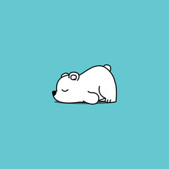 Lazy polar bear cartoon, vector illustration