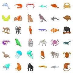 Many animals icons set. Cartoon style of 36 many animals vector icons for web isolated on white background