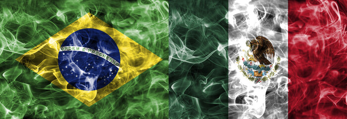 Brazil vs Mexico smoke flag, quarter finals, football world cup 2018, Moscow, Russia