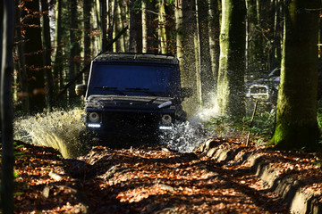 Offroad race on fall nature background. Extreme, challenge and 4x4 vehicle concept Car racing in autumn forest. SUV or offroad car on path covered with leaves crossing puddle with water splash