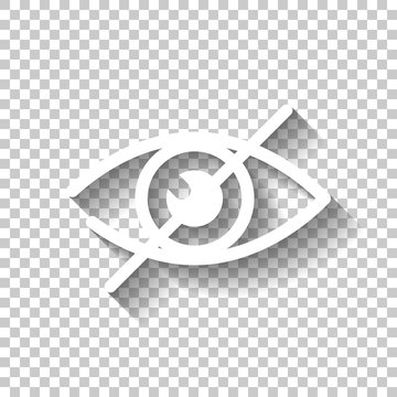 dont look, crossed out eye. simple icon. White icon with shadow