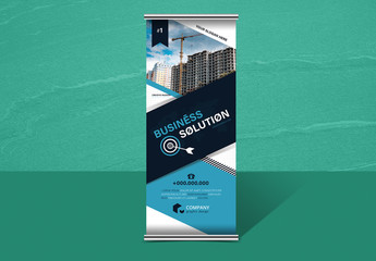 Roll-Up Business Banner Layout with Diagonal Elements
