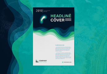 Flyer Layout with Layered Wave Elements