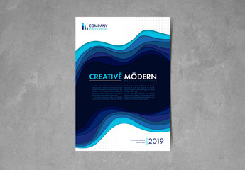 Flyer Layout with Blue Layered Wave Elements