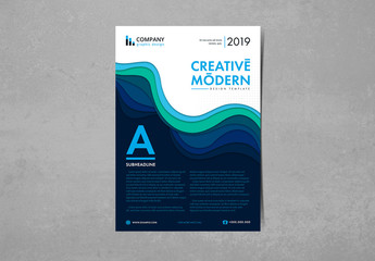Flyer Layout with Blue and Green Layered Elements